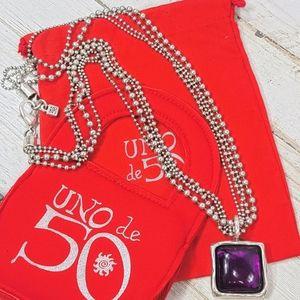"""Uno de 50 """"Gulp"""" Necklace COLO574 Purple Stone"""